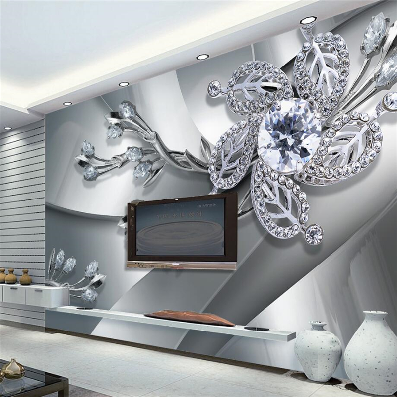 Custom Any Size Modern Silver white jewelry WallPaper Diamond Romance Luxury Wall Covering BedRoom Mural Background Wallpapers Обои