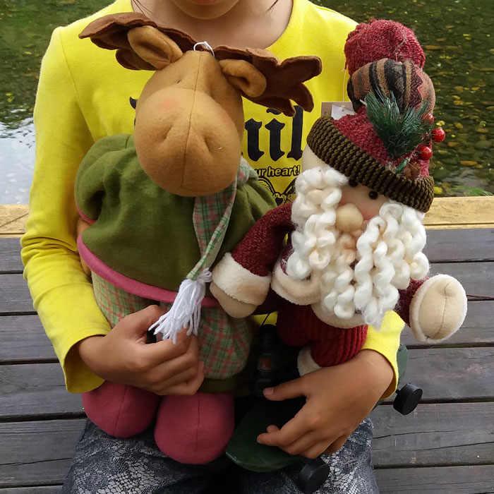 Sobre 38 centímetros Bonito Alces de pelúcia carregando um presente com uma lanterna enfeites de boneca para presentes das crianças