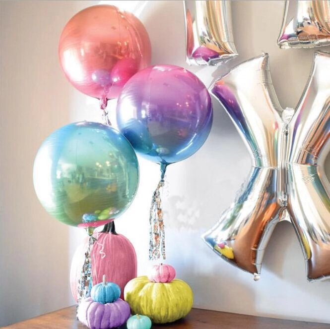 Baby Shower Birthday Wedding Party Gradient Color Inflatable Toys Foil Balloon