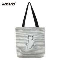 Canvas Fabric Reusable Grocery Tote Bag Big Foldable Shopping Bag Striped Cotton Tote Bags Eco Bag