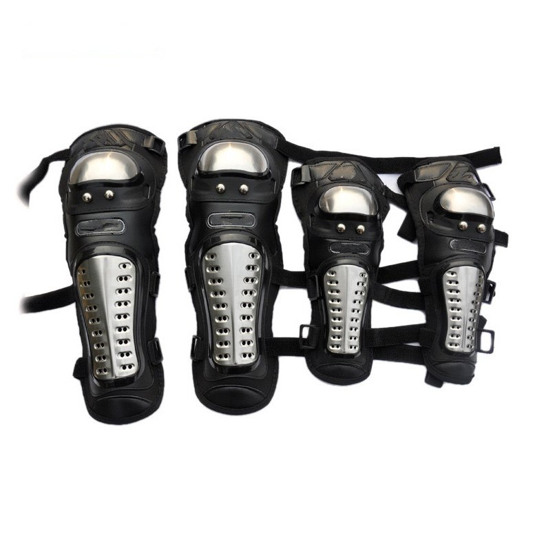 The locomotive car off-road motorcycle 4 sets of four summer Leggings kneecaps fall proof stainless steel brace length