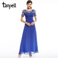 Tanpell azul royal apliques vestido de baile borgonha barato mangas curtas até o chão vestido de volta com zíper para cima menina formais vestidos do baile de finalistas