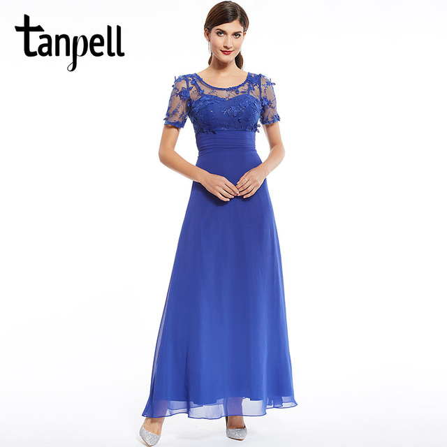 Tanpell royal blue appliques prom dress cheap burgundy floor length ...