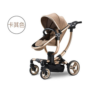 Lujoso cochecito para bebé multifuncional 3 en 1 de lujo con sistema de viaje para asiento de coche, cochecito plegable portátil de cuatro ruedas para recién nacidos, 7,8