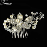 New Floral Wedding Tiara Sparkling Silver Plated Crystal Simulated Pearl Bridal Hair Combs Hairpin Jewelry Hair