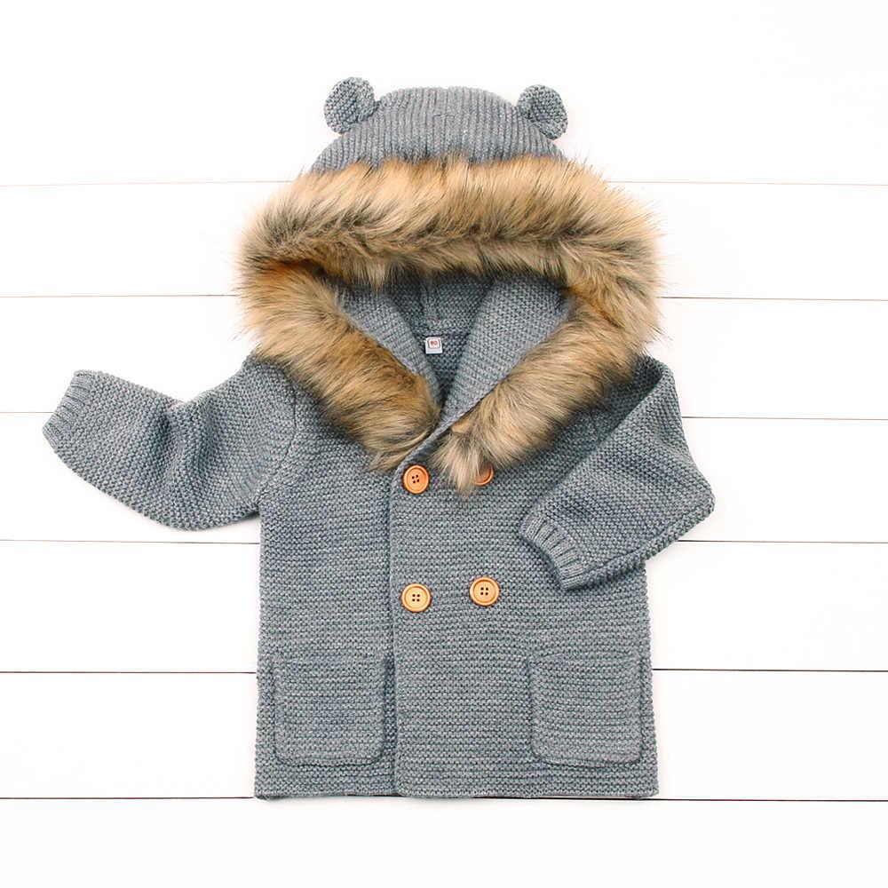 Зимние Детские свитера Лидер продаж для маленьких девочек с капюшоном для мальчиков меховой воротник Вязаная куртка с длинными рукавами зимний пальто цвета слоновой кости белый розовый