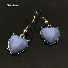Gothletic 2017 Fashion Blue Lovely Heart Acrylic Stone Pendant Drop Rhodium plated Zinc Alloy Dangle Earrings