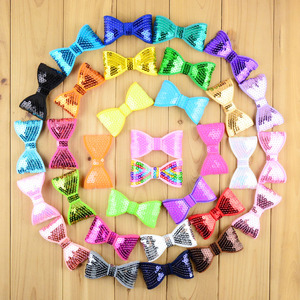 Image 4 - 300 шт./лот 32 цвета U Pick 3,15 дюйма блестящая вышивка блестками бант аппликация без зажимов свадебные аксессуары для волос HDJ26