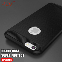 PLV Luxury Shockproof Carbon Fiber Soft TPU Phone Case For iPhone 7 7 Plus 6 6s Plus Case For iPhone X 8 8 Plus  Back Cover
