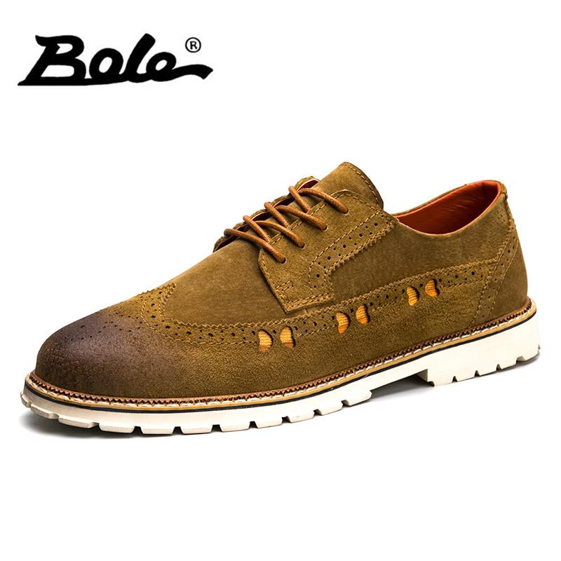 BOLE Autumn New Cow Suede Men Casual Shoes Fashion Design Lace Up Breathable Men Martin Shoes Comfort Flats Shoes Men Size 39-44 zero more fashion men shoes high quality cow suede leather men casual shoes lace up breathable shoes for men plus size 38 49