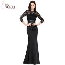 Новые черные кружевные вечерние платья русалки три четверти Robe De Soiree Longue Формальное вечернее платье