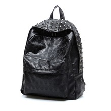 New Fashion Skull Leather Backpack Men Black Tide Rivet Travel Bag Unisex Female Steam Punk Vintage Rocking Individuality Bags
