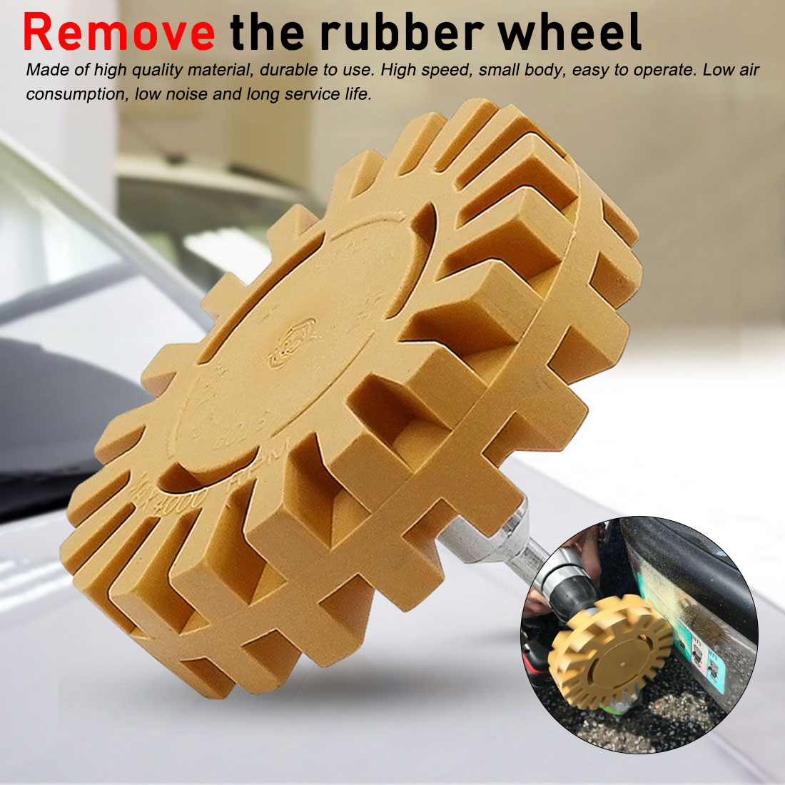 """Polishing Wheel Decal Remover 1/4"""" Shank Rubber Eraser Wheel Quick Polishing Removal Tool For Car Stickers And Decals
