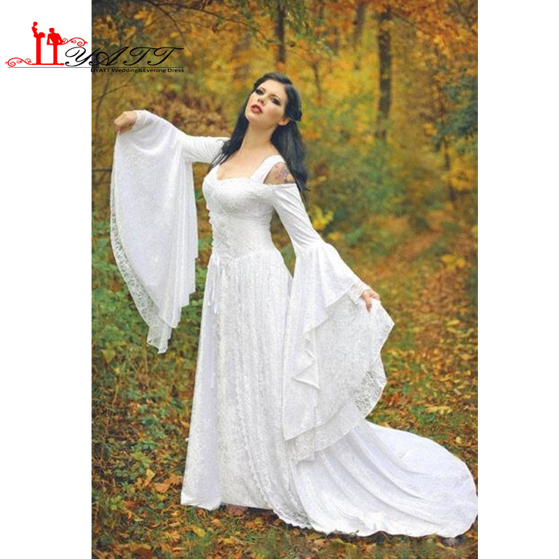 6279e8cc3a4c Fantasy Fairy Medieval Lace Up Wedding Dresses Off Shoulder Bell Long  Sleeves A Line Court Train White Lace Wedding Gown