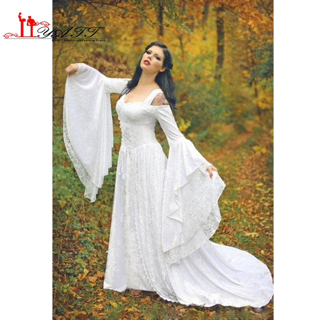 68d77751b1143 Fantasy Fairy Medieval Lace Up Wedding Dresses Off Shoulder Bell Long  Sleeves A Line Court Train White Lace Wedding Gown