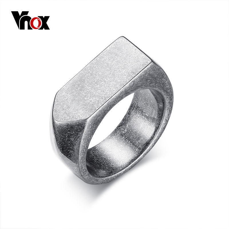 цена Vnox 9mm Flat-top Retro Rings for Men Punk Stainless Steel Male Rings Jewelry US Size 8 to 12