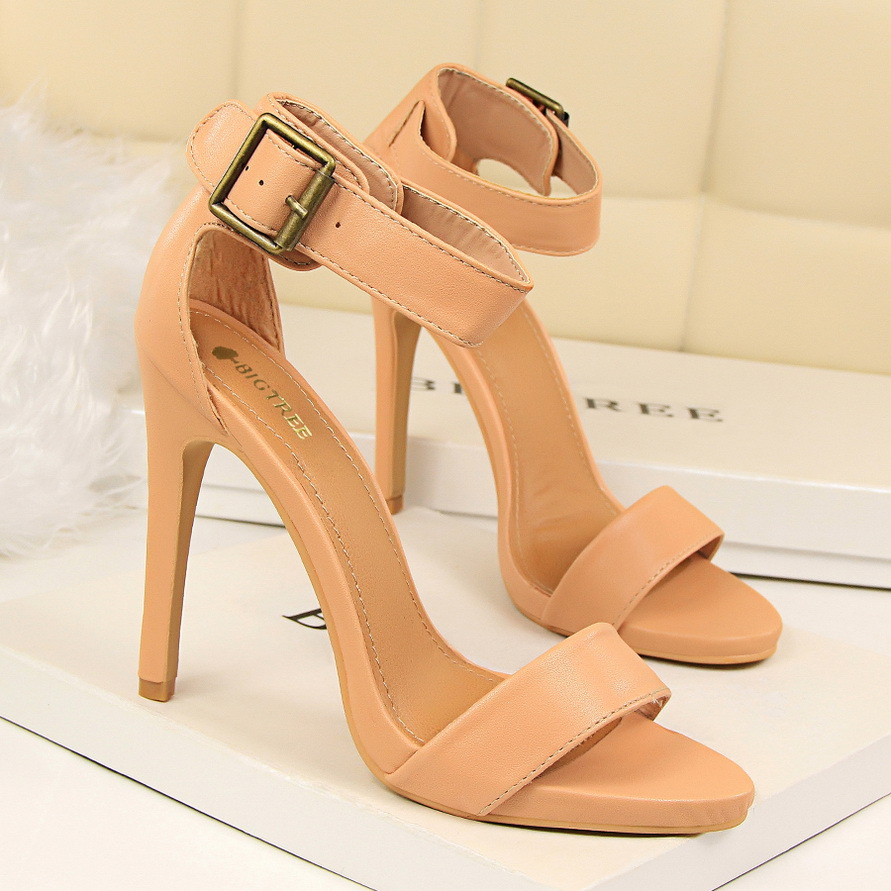 New Fashion Summer Women High Heels Sandals Buckle Sexy Thin Heeled Ladies Sandal Ankle Strap Leather High-heeled Shoes G1408-2 2015 summer new rome sweety shining buckle belt women sandal high heels weomen sandal breathable comfort women sandals e937