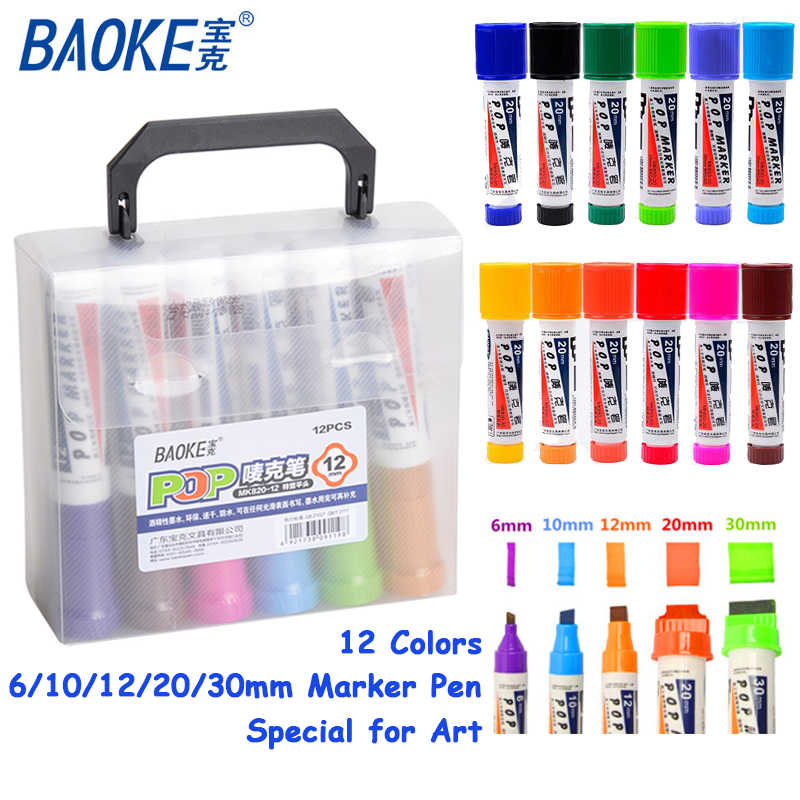 12pcs/box POP Alcoholic Oily 6/12/20/30mm Colorful Marker Pen Set Hand-painted Poster AD Graffiti Drawing Office Stationery Gift