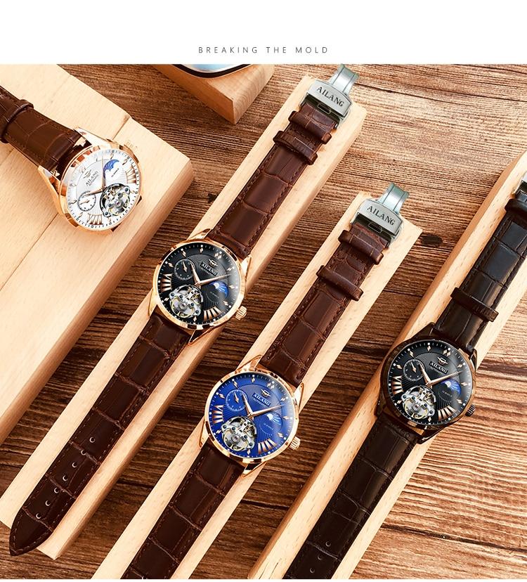 HTB1IAlAd2WG3KVjSZFgq6zTspXap AILANG Quality Tourbillon Men's Watch Men Moon Phase Automatic Swiss Diesel Watches Mechanical Transparent Steampunk Clock