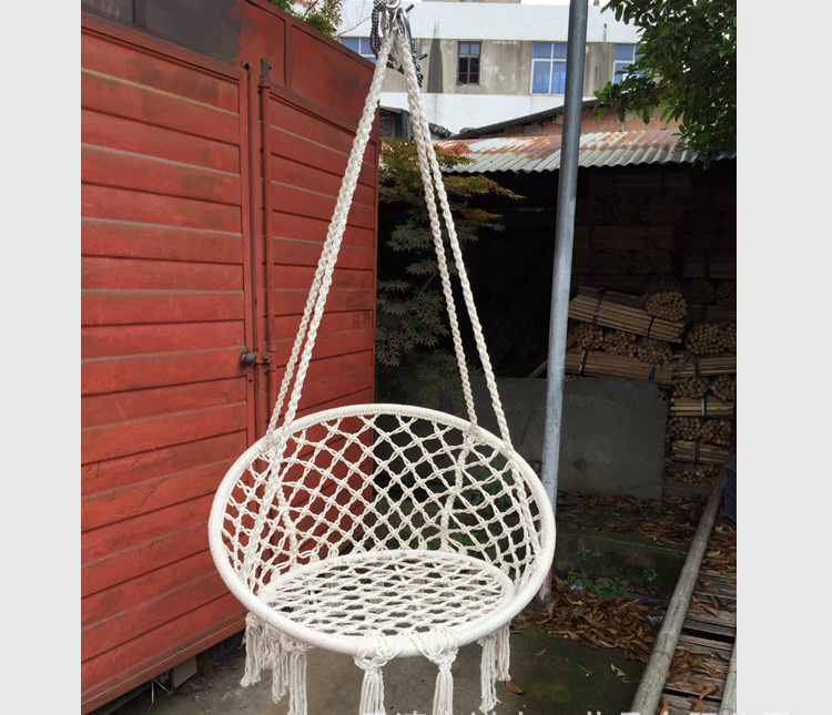 Nordic Style Round hammock outdoor indoor dormitory bedroom children swing bed kids adult Swinging hanging single chair hammock swinging hanging chair hammock rocking chair thick canvas hammock outdoor camping chair dormitory bedroom swing send tying pouch
