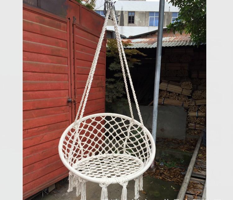 Delightful Nordic Style Round Hammock Outdoor Indoor Dormitory Bedroom Children Swing  Bed Kids Adult Swinging Hanging Single
