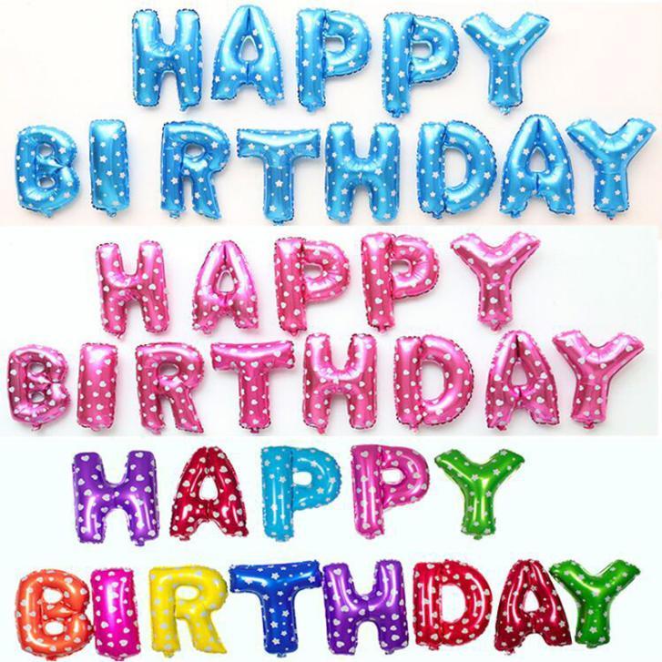 13pcs/lot Happy Birthday balloons Party Decoration Letters Alphabet Aluminum Hel