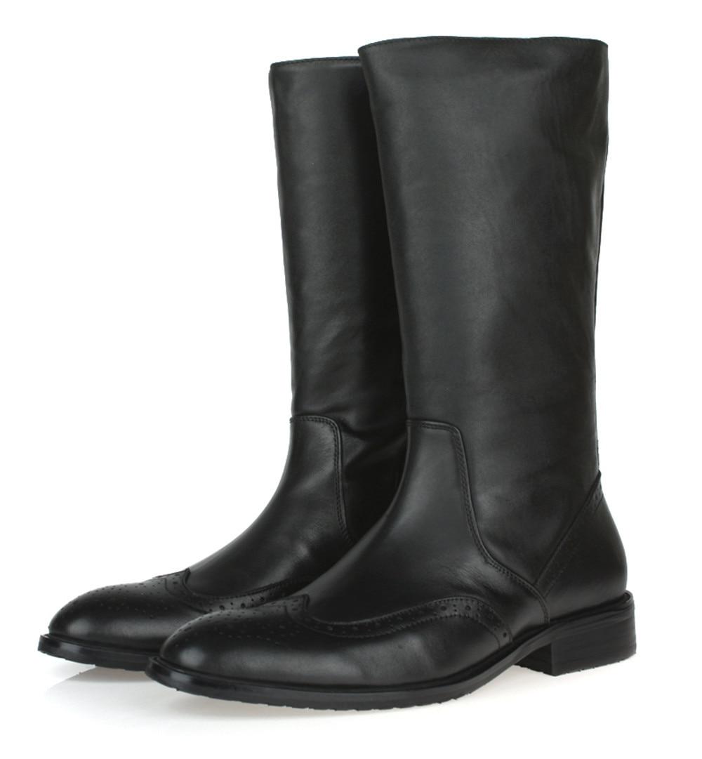 2017 top quality knee high black mens boots genuine