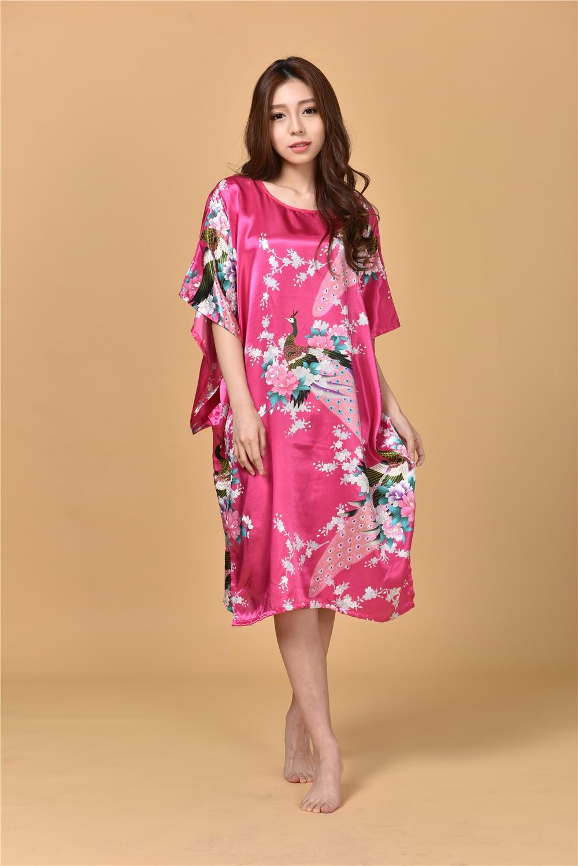 ̀ •́ Verano Hot pink sexy rayón de seda inicio vestido mujeres ...