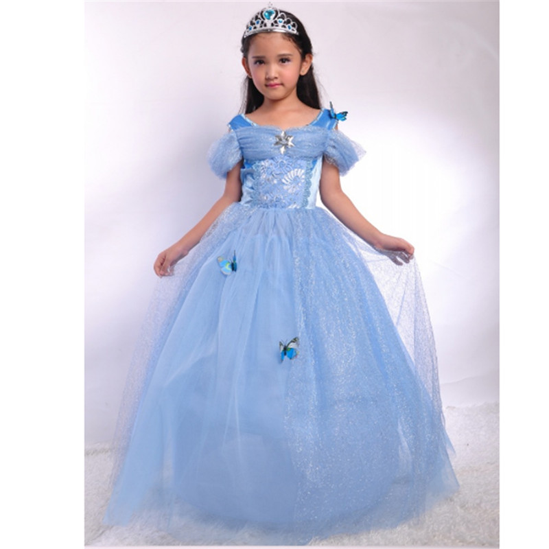 2018 New high quality Cinderella Dresses girl sequined cartoon Princess Cosplay Clothes Party Dress Children Halloween costumes