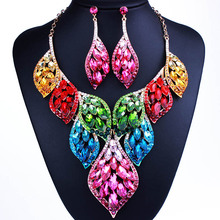 Fashion feather design gold plated crystal statement necklace and earrings luxury african dubai wedding jewelry sets