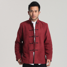 329db3237ab 2019 New Autumn Thick Solid Burgundy Cashmere Tai Chi Male Jacket Chinese  Men Kung Fu Casual