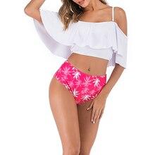 купить Women Two Pieces Bathing Suits Top Ruffled With High Waisted Bottom Tankini High Waist Bikini Set Bikini 2019 Mujer дешево