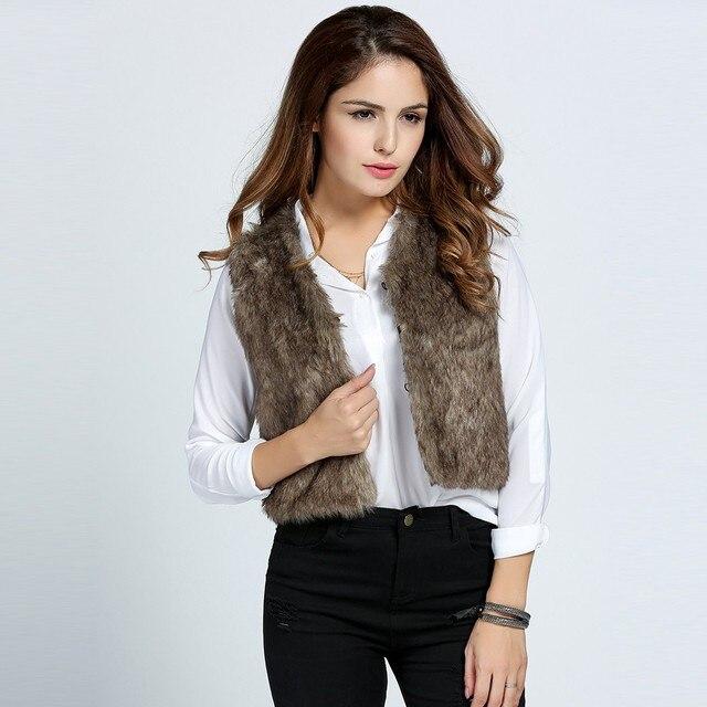 Alishebuy Плюс Размер Новая Мода Женщины Повседневная Рукавов Короткая Куртка Из Искусственного Меха Жилет Пальто И Пиджаки S-3XL