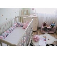 Детский бампер ручной работы с узелком для кровати новорожденного, 3M, длинная плетеная подушка, детский бампер для кровати, детская кроватка с узелком, аксессуары для декора детской комнаты