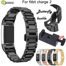 Stainless Steel Watch band Strap Bracelet for Fitbit Charge 2 Replacement Watchbands Butterfly buckle Wrist Strap Wristbands new все цены