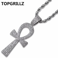 TOPGRILLZ Hip Hop New Style Ankh Necklace Copper Gold Silver Color Plated Micro Paved AAA CZ