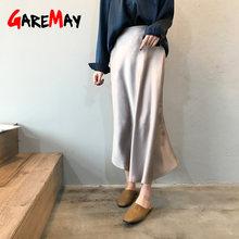 fe46ccf522a31f Garemay Midi Maxi falda de satén de cintura alta Mujer elegante seda A-Line  sólido Vintage Ol señoras verano Faldas de mujer