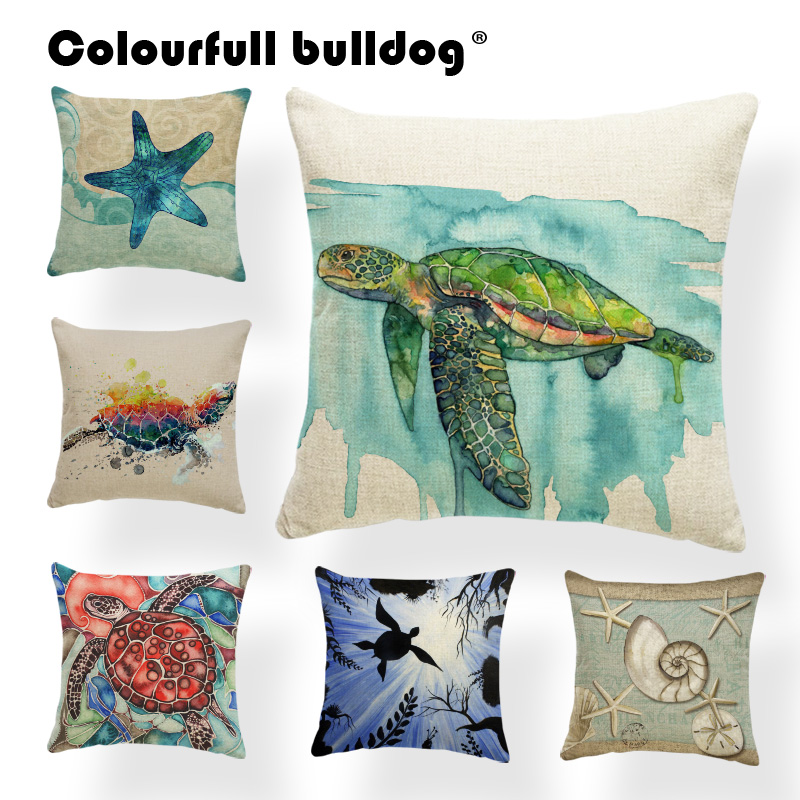 Vintage Cushion Cases Ocean Conch Starfish Coral Pillow Cases Sea Turtle Narwhal Seaweed Polyester Cotton Blend Home Couch Decor