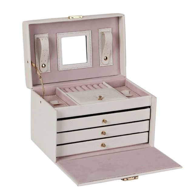 White PU Leather Jewelry Box Packaging Display Organizer Girls 3 Drawers Black Ring Earring Jewellery Storage