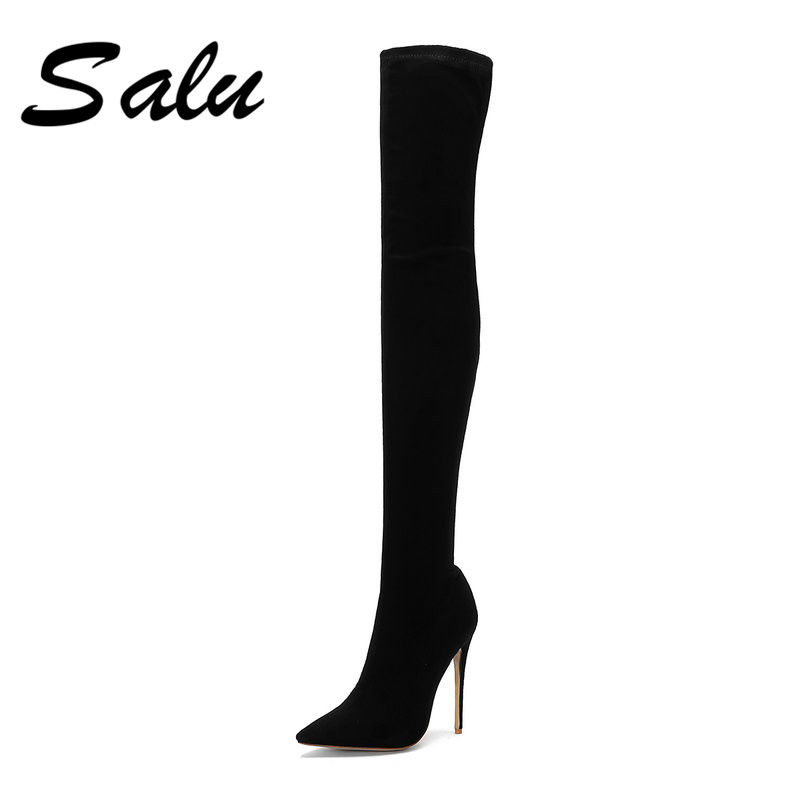 Salu Brand Stretch Leather Thigh High Heels boots Women Winter Boots Stiletto Heels Sexy Over the Knee Boots Female Shoes salu winter shoes women fashion pointed toe high heels sexy over the knee high boots silver gold slim thigh high stretch boots
