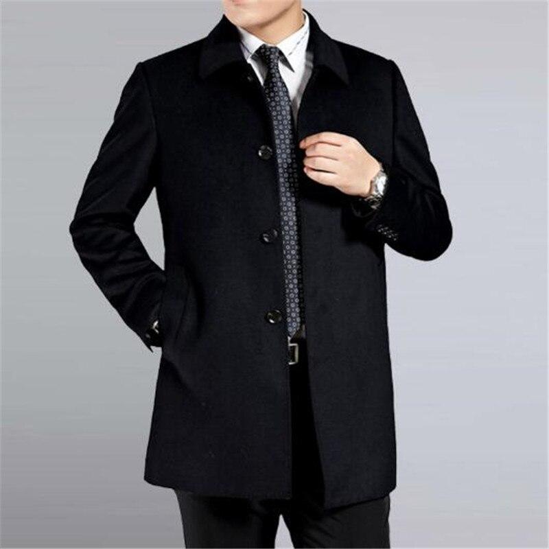 Мужское кашемировое пальто среднего возраста, мужской шерстяной Тренч с отложным воротником, однобортная шерстяная верхняя одежда, новинк... - 3