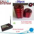 Gestión de electrónica sistema de llamada con el sonido vibrar flash 1 transmisor 20 paddle pager