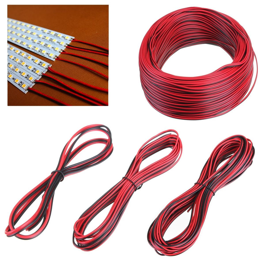 100M/lot 2 Pin back red cable connector extension connecting wire ...