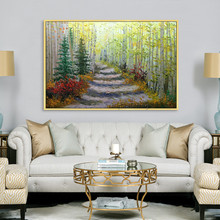 Canvas acrylic painting Palette Knife white birch tree abstract landscape Wall art Picture for living room home decor79