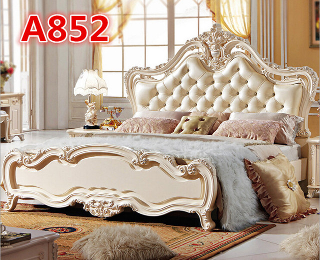 Hand Carving Luxury King Size Bedroom Furniture Set High Head Royal Style A852