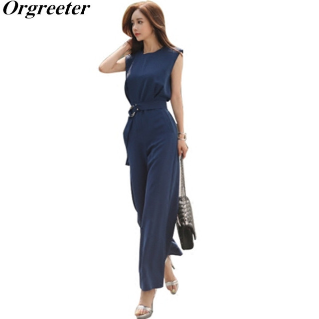 849bd3e59233 Jumpsuit For Women 2018 Summer New O Neck Sleeveless Wide Leg Pants With  Best Solid Black Blue Korean OL Formal Wear Plus Size