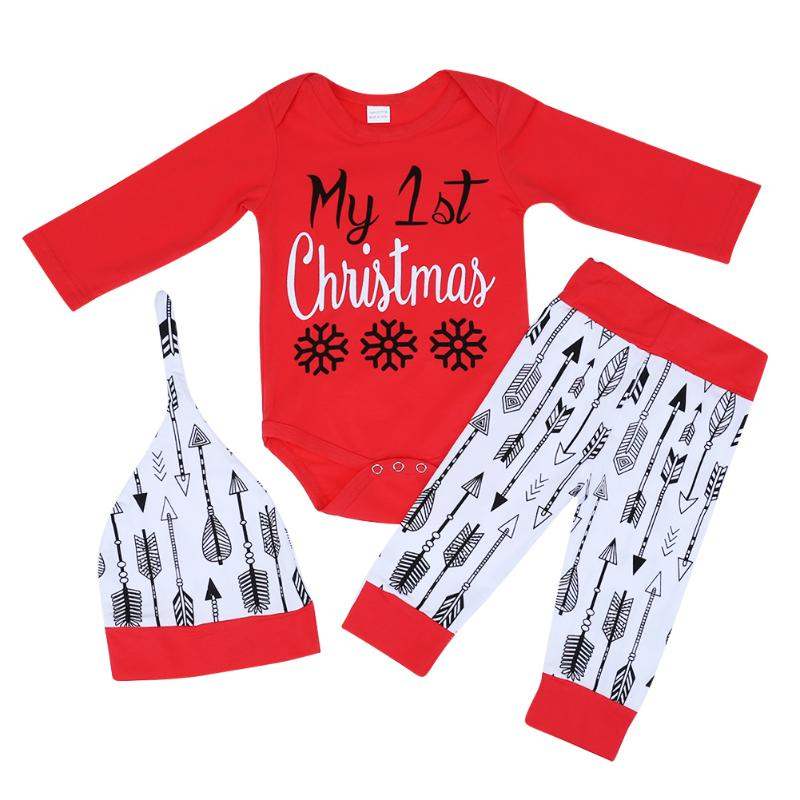3pcs/Lot Antumn Red Cotton Soft Clothes Baby Christmas Suits Long Sleeve Rompers + Arrow Printed Pants + Hat Fresh Kids Costume