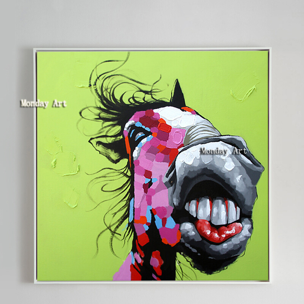 Us 24 0 50 Off Handmade Modern Abstract Crazy Horse Portrait Painting Green Background Pure Hand Painted Unique Gift Oil Painting On Canvas In