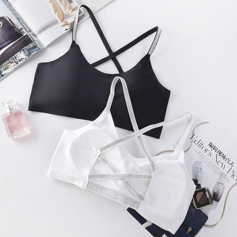 Women Girls Seamless Ice Silk Yoga Bra Cross Bandage Backless Bralette Glitter Powder Straps Breathable Mesh Sports Crop Top