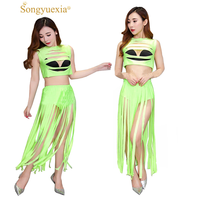 0630379efb09 SONGYUEXIA Womens Tassel Dance Dress Modern CostumeFemale DJ Singer  Sleeveless Top and Skirt Suit Green Girls Stage Dancing Suit